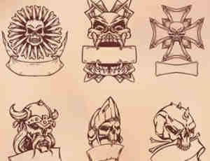 10个骷髅头花纹胸章笔刷