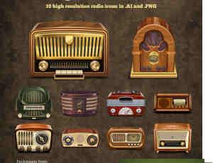 老式收音机ai矢量素材下载