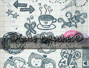可爱爱情涂鸦女孩笔刷