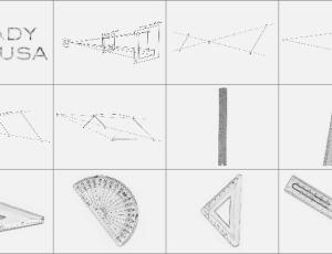 直尺量角器三角尺笔刷
