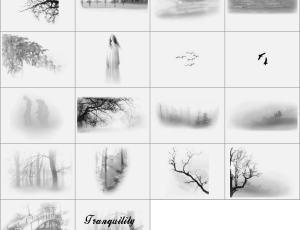 雾中的柳树与长发女人笔刷