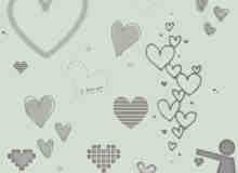 简单的涂鸦爱情装饰笔刷