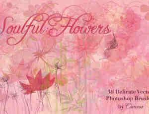 漂亮的卡通花卉笔刷