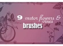 9种藤蔓花形图案笔刷
