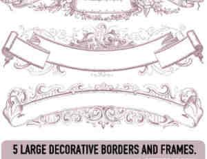漂亮的古典式装饰边框旗帜笔刷