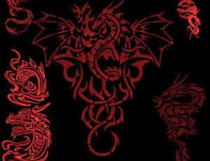 漂亮的龙型纹身笔刷