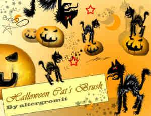 万圣节中的猫笔刷