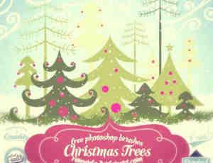 圣诞节专用矢量卡通圣诞树笔刷