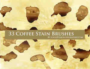 33种咖啡污渍效果笔刷下载