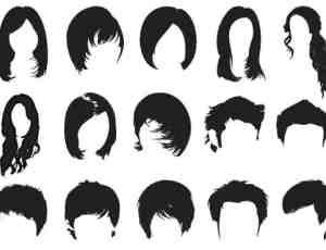 女式发型与男式发型的卡通效果笔刷