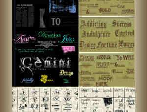 18套个性化英文标语字体笔刷