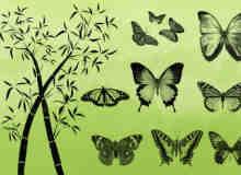 蝴蝶与竹子笔刷