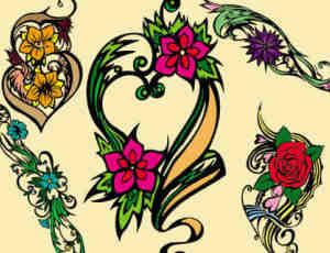 漂亮典雅的矢量花卉笔刷