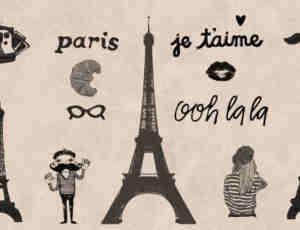 巴黎卡通涂鸦笔刷