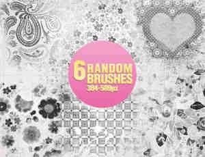 6种花纹图案装饰笔刷
