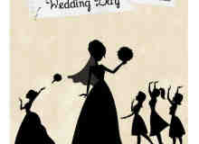 卡通矢量新娘剪影笔刷