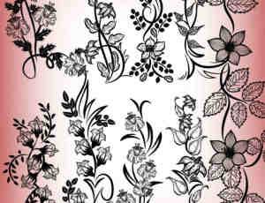 娟秀的手绘鲜花花纹笔刷
