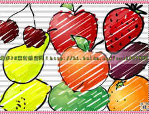 水彩笔涂鸦式童趣水果笔刷