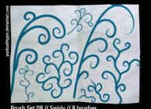 漂亮的枝条漩涡花纹笔刷