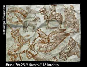 手绘涂鸦天马与战马笔刷