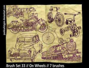 手绘老爷车摩托车火车自行车笔刷