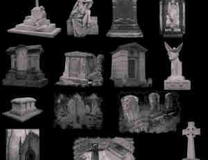 西式坟墓与墓地笔刷