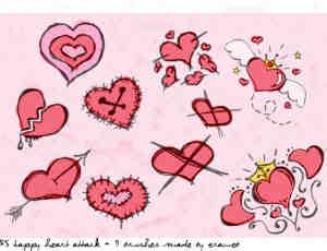 水彩涂鸦式爱心笔刷