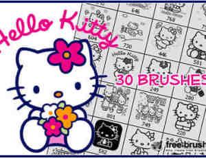 30种Hello Kitty动漫图案笔刷