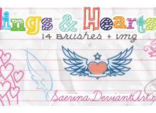 可爱的翅膀与爱心装饰笔刷