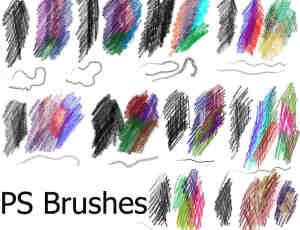 彩色蜡笔纹理笔触笔刷