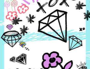 可爱卡哇伊照片装饰钻石涂鸦笔刷