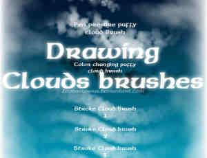 手工绘制的天空云朵云彩笔刷