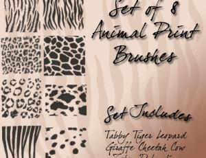 动物皮毛上的斑纹斑点条纹效果笔刷