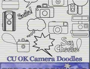手绘卡通线条相机PNG笔刷