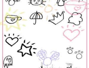 可爱的生活元素涂鸦照片装饰笔刷