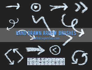 涂鸦式粉笔箭头符号笔刷