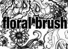 素描手绘式花纹图案PS笔刷
