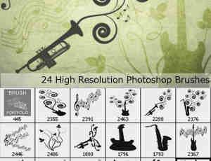 24种音乐元素矢量花纹笔刷