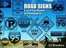 美国公路提示标志标牌笔刷