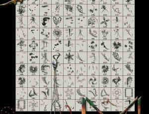 185个枝条、昆虫、花边、花纹等生物自然元素PS笔刷