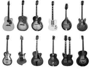 12把样式不同的吉他PS笔刷