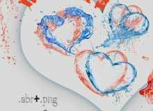 爱心、心形状水花涂鸦PS笔刷