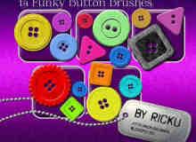 14颗复古时尚的漂亮纽扣PS笔刷下载
