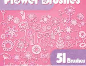 51款可爱的手工小花朵涂鸦PS笔刷