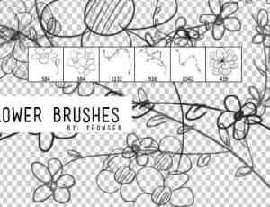 6种卡哇伊的手绘涂鸦花枝、花朵PS笔刷