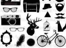 人物服装、自行车、鹿头、鸟笼、相机等照片装饰笔刷