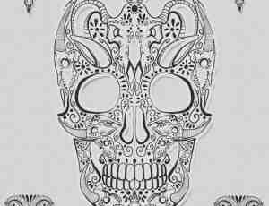印花组成的骷髅头、羊头PS笔刷素材下载