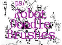 可爱卡通机器人涂鸦画笔PS笔刷