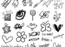 可爱的仿铅笔画涂鸦图案PS笔刷