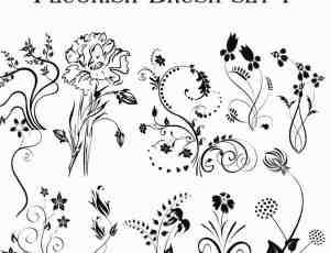 高清手绘式贵族花纹纹饰图案PS笔刷下载